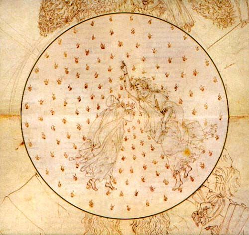 "boticelli's ""Dante and Beatrice in the heaven of mercury"" paradiso ca. 1490-95"