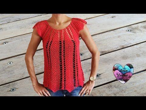 Magnifique blouse au crochet ajourée 1 / Linda blusa tejida a crochet facil 1 - YouTube