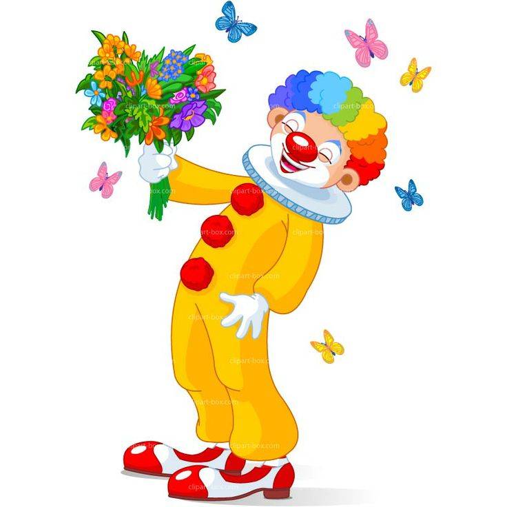 CLIPART LAUGHING CLOWN WITH FLOWERS | Royalty free vector design