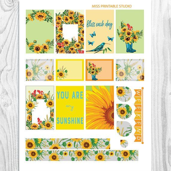 picture about Printable Pictures of Sunflowers named Sunflower Planner Stickers Printable, Sunflowers Package Large