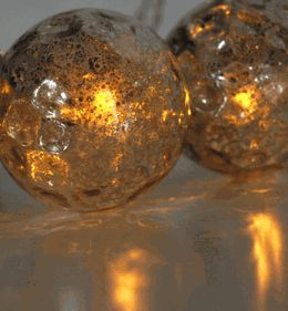 Mercury Glass Globe LED Solar String Lights