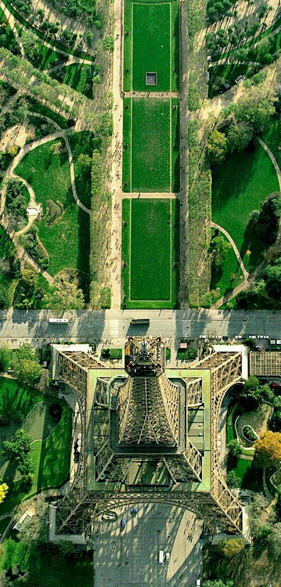A birds-eye view of the Eiffel Tower and the promenade leading to it. PARIS