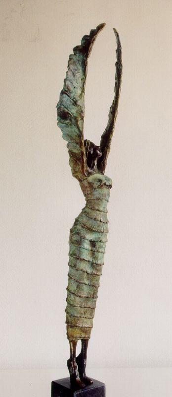 ook een vrouw met een lange jurk en de armen zijn een soort vleugels.