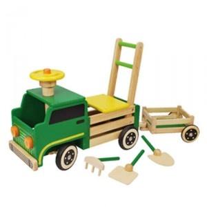 Een Houten loop/duwwagen in de vorm van een boederijwagen.  De wielen van deze loopwagen zijn voorzien van een rubber loopvlak zodat er geen krassen op de vloer ontstaan, tevens geluidsdempend.  Door de ladder achter op de boerderijwagen is deze auto ook te gebruiken als duwwagen.  Onder de zitting is een opbergvak geplaatst voor het opbergen van bv. speelgoed.  Geschikt voor kinderen vanaf 19 maanden.