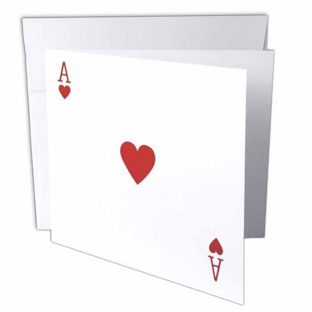 3dRose Ace of Hearts playing card - Red Heart suit - Gifts for cards game players of poker bridge games, Greeting Cards, 6 x 6 inches, set of 12