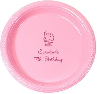 Personalized Cupcake Plastic Plates: Cupcakes Plastic, Cupcakes Rosa-Choqu, Personalized Cupcakes