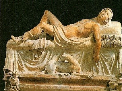 The Dying Atunis/Adonis ~ 3rd cent. BCE ~ polychrome terra-cotta ~ Gregorian Etruscan Museum, Vatican, Rome