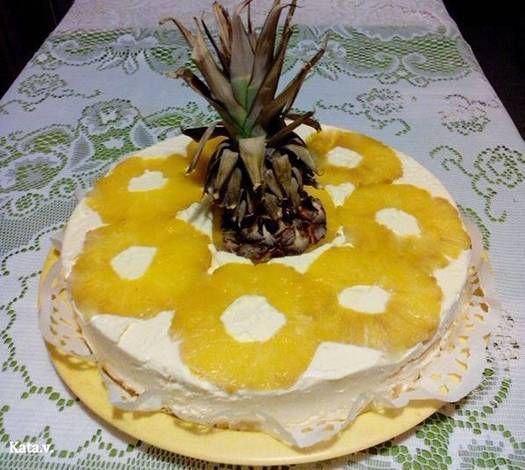 Fordított ananásztorta Katától (cukormentes)