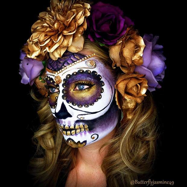 Purple and Gold Sugar Skull Halloween Makeup                                                                                                                                                                                 More