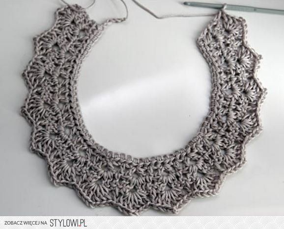 Crochet Collar Necklace Tutorial - Potential for Wire?… na Stylowi.pl