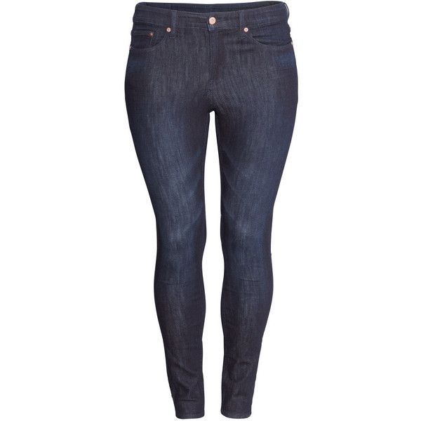 H&M+ Skinny Jeans ($19) ❤ liked on Polyvore featuring jeans, pants, plus size, bottoms, dark denim blue, h&m jeans, plus size skinny leg jeans, skinny leg jeans, dark blue denim jeans and women's plus size jeans
