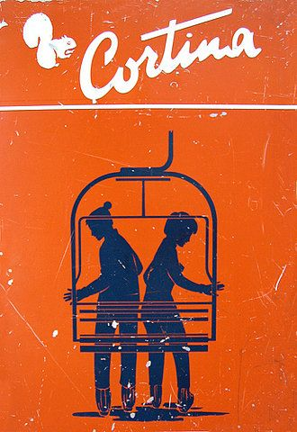 vintage ski poster Cortina