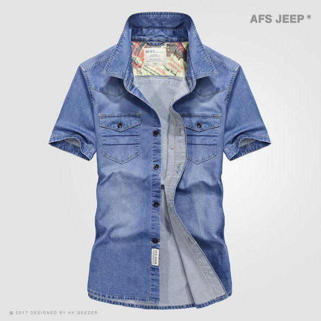 Cowboy Pockets Cotton Casual Shirts Men Spring Short Sleeve Dress Shirts Summer Fashion Sweat Multi-pocket Denim Blue