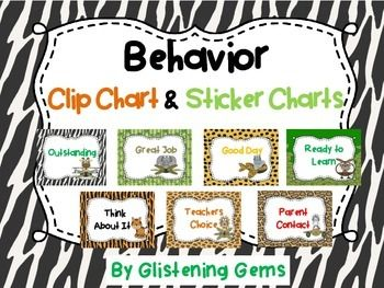 Behavior Clip Chart and Sticker Charts - Classroom decoration in Jungle theme.This package includes a jungle themed behavior clip chart that can be used to help promote positive behavior in your class. Simply write students names on pegs and then clip onto the chart, saying ready to learn.