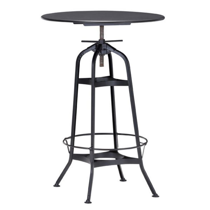 The Spartan Bar table has a lean architectural looking base with a matte black finish. The round top comes with adjustable function, simple spin the top to adjust to desired height.