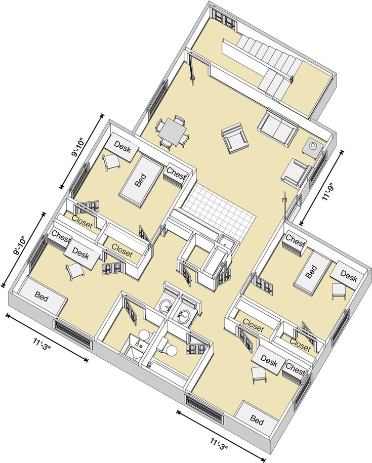 Carpenter Wells Complex 4 Bed Room Layout