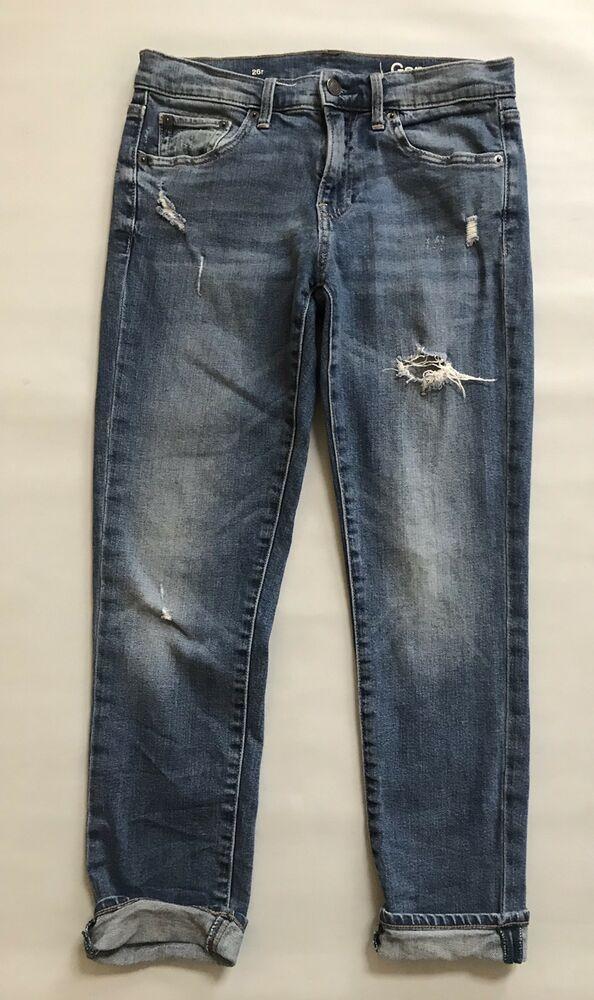 c5e40712 GAP Girlfriend Distressed Jeans Sz 26 2 Vintage Medium Indigo Stretch 1969  Denim #Gap