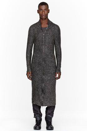 JULIUS Grey Mohair Ribbed Long Mohair Cardigan
