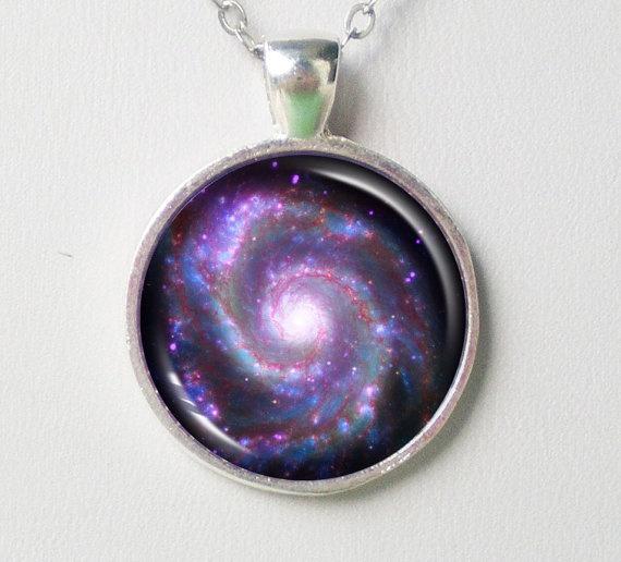 Spiral Galaxy Necklace  M51 Whirlpool Galaxy by FantasticDIY, $10.00
