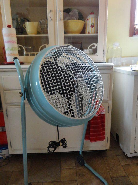 Retro Vintage Westinghouse Turquoise Aqua Floor Fan