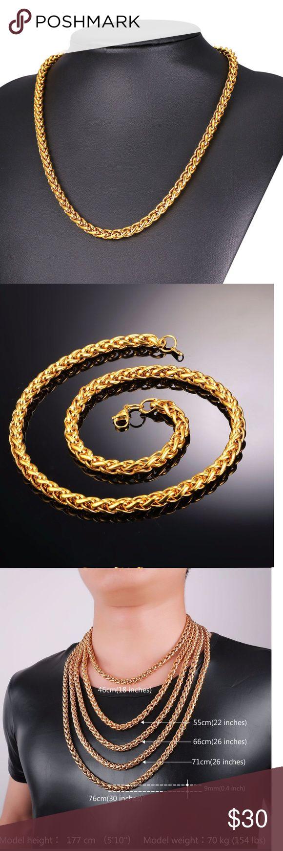 9mm New 18k Gold Chain For Men Brand New Stainless Steel Chain For Men 9mm