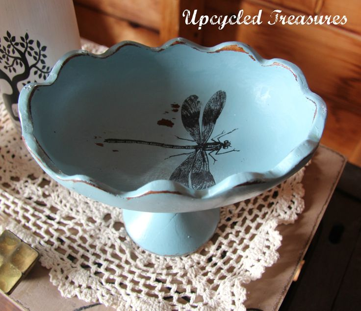 Prettychalk Painted Little Vintage Bowl Upcycled Into Pretty Dragononfly  Bowl Https://www.