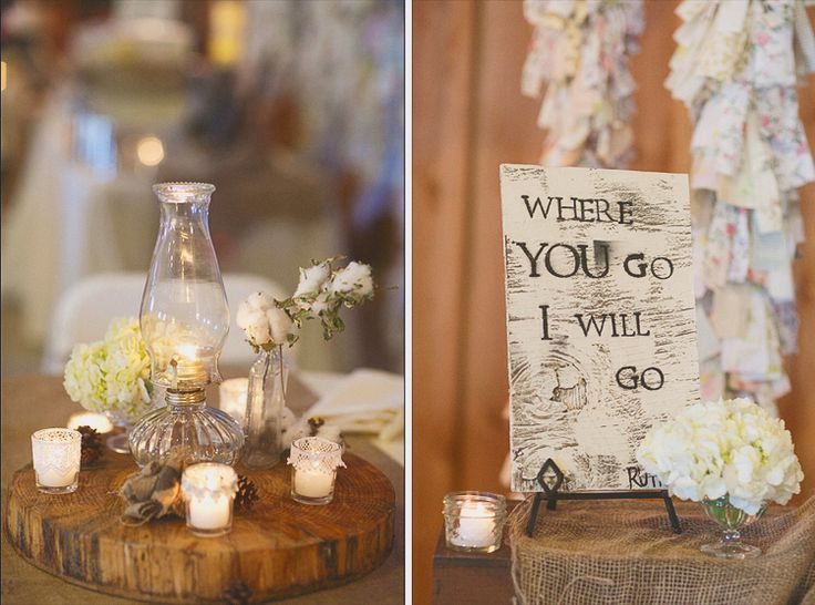1.4.14 Heather Armstrong Photography. Ponderosa Ridge Ranch Anderson, Ca. Winter Barn Wedding. Oil lamp centerpieces, wood stumps, DIY wood sign. Ruth 1:16