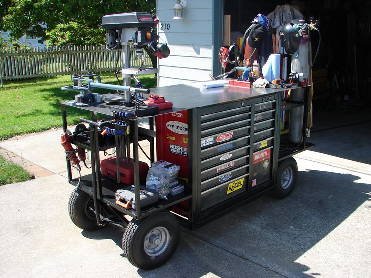 Is it a welding bench, or a giant toolbox on wheels? Its both. Everything is self contained, and ready to wheel outside if you want. Pretty neat.