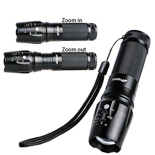 Prosvet 878 Tactical Flashlight Military Grade Led Flashlight  Water Resistant Tac Light  5 ModesZommable Function  Ultra Bright TorchPowered by 18650 Rechargeable Battery or 3 x AAA Battery *** Click on the image for additional details.