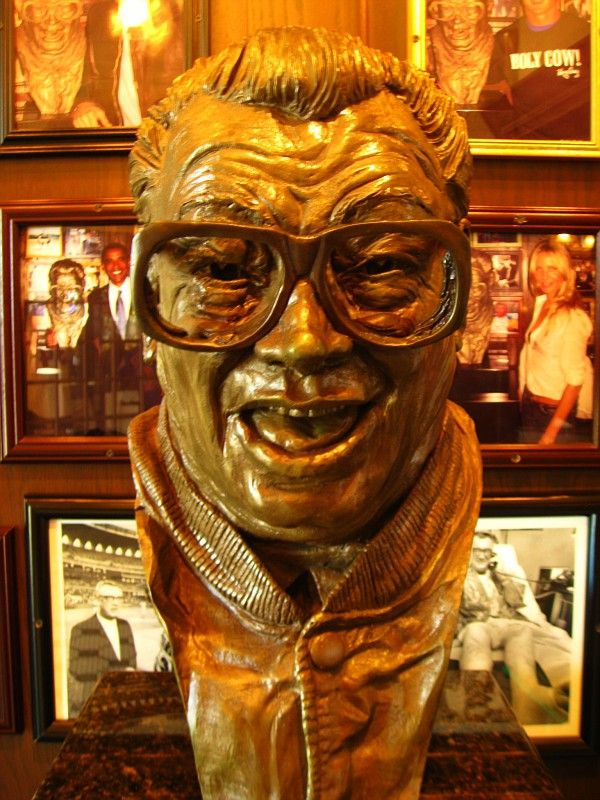 The golden bust of Harry Caray in Harry Caray's Restaurant