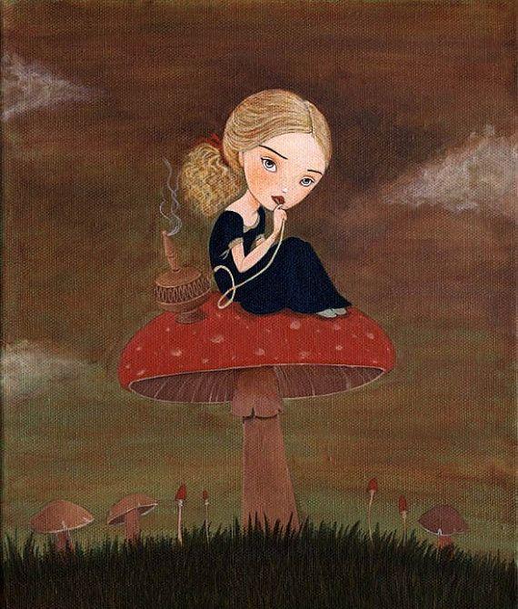 Alice In Wonderland Art, Girls Room Art Decor, Girl Art Print, Children's Art, Poster, Art for Kids, Cute - Blue Caterpillar 8x10 Print