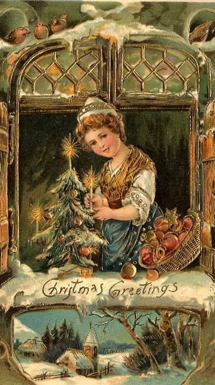 From 'Antique Christmas Postcards Cards & Printables'. Click here: https://www.pinterest.com/annesminis/~-antique-christmas-postcards-cards-printables-~/.