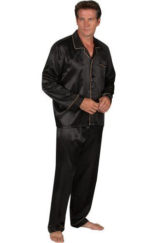 Mens Black Satin Pajamas