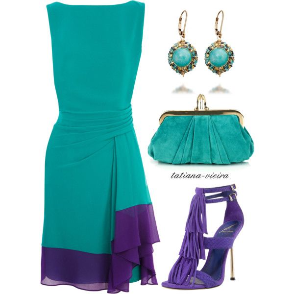 A fashion look from March 2012 featuring blue evening dresses, purple sandals and turquoise handbags. Browse and shop related looks.