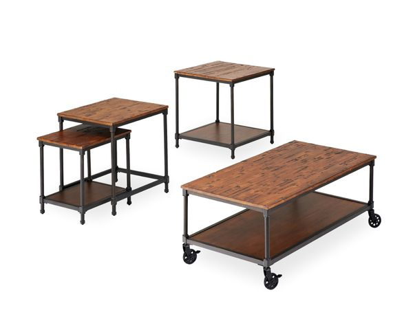 "Donald Choi Wonderful Rustic ""Fraser"" Collection ..Rustic Table Top with a Hint of Industrial with The Metal Base and Moving Castors. In-Stock Now at Reliable! ChoiHome.ca"