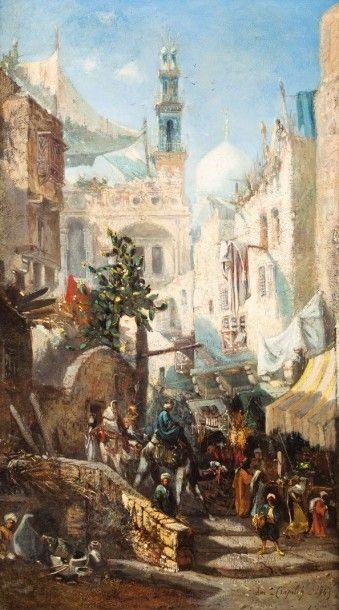 Louis Amable CRAPELET (1822-1867) Rue du Caire Huile sur toile, signée et datée (18)65 en bas à droite. 73 x 43 cm - Gros & Delettrez - 20/11/2015