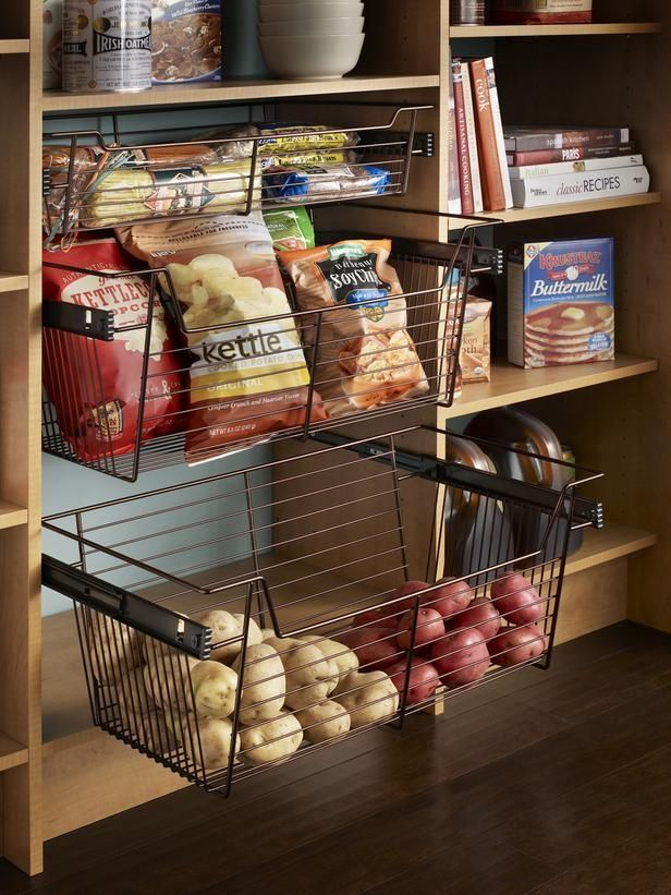 If your pantry is deep enough, opt for installing roll-out shelving or wire bins for those hard-to-reach essentials.