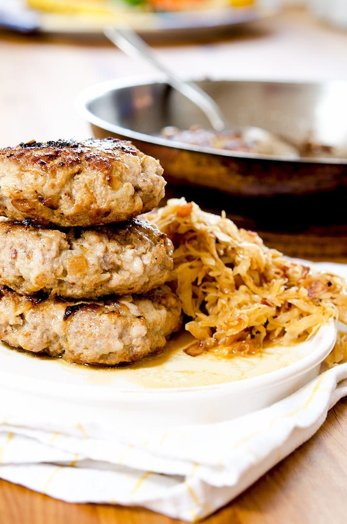 Go ahead and make some yummy sauerkraut to pair with these deliciously seared pork burgers.