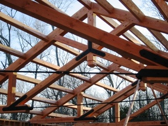 Wood truss with custom steel gusset plate connection for Exposed roof trusses images