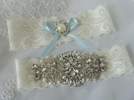 Bridal Garter Wedding Set Ivory Stretch Lace Keepsake And Toss Garters