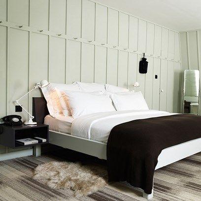 Pale Green Panelled Bedroom Soho House