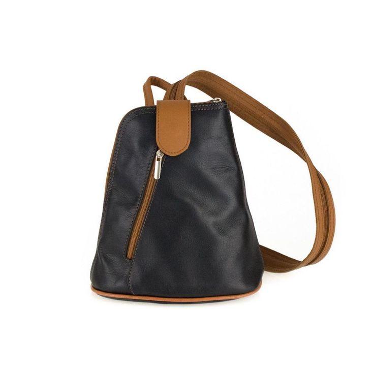 OBC Damen echt LEDER Rucksack Schultertasche Stadtrucksack BackPack Handtasche Organizer Daypack Tablet bis ca. 8 Zoll Leder 22x23x12 Schwarz-Cognac – Italyshop24.com