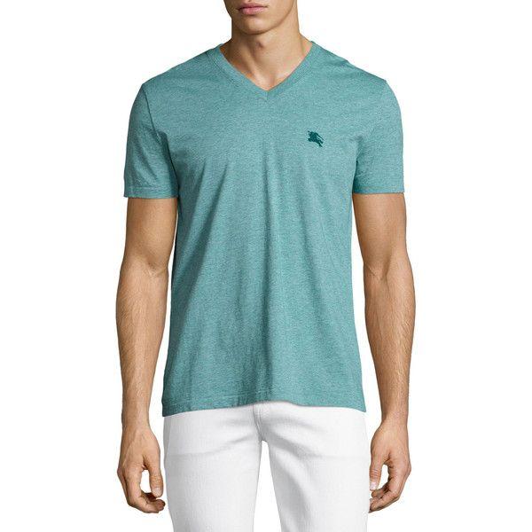 Burberry Lindon V-Neck T-Shirt ($105) via Polyvore featuring men's fashion, men's clothing, men's shirts, men's t-shirts, green, burberry mens shirt, mens embroidered shirts, mens short sleeve t shirts, men's v neck shirts and mens classic fit shirts