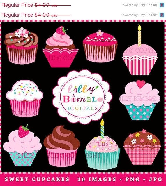 50 off SWEET CUPCAKES clipart for invitations by LillyBimble, $2.00
