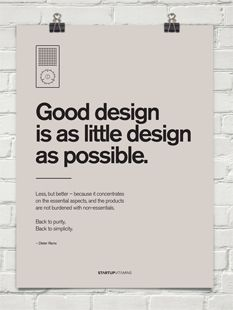 Poster Good design is as little design as possible by Dieter Rams