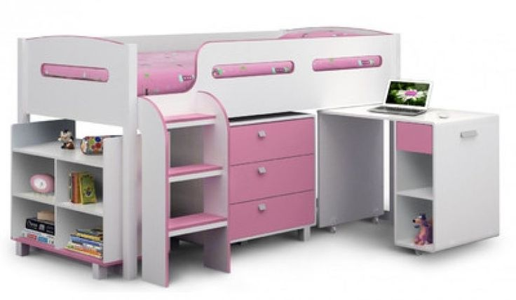 Pink White Single Bunk Bed Mid Sleeper DESK Ladder 3 Drawer Shelves Storage Kids Make the Best this Great Gift. Check LUXURY HOME BRANDS and Grab this bargain Now!