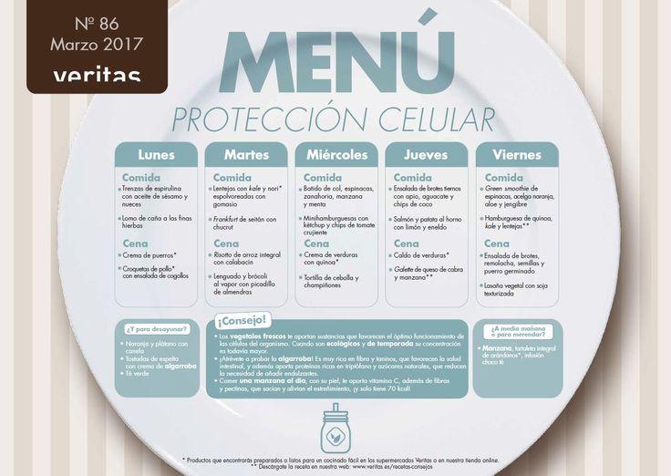 Menú protector celular, elaborado por la dietista y experta en nutrición Mireia Marín, acompañado de ideas para desayunar y merendar, y consejos saludables.