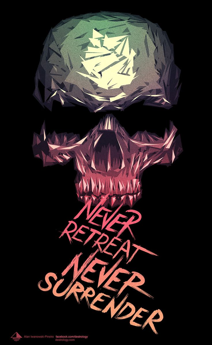 Digital art selected for the Daily Inspiration #1549 never retreat never surrender skull design inspiration with triangles.