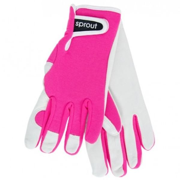 Ladies Goatskin and Lycra Gloves- Sprout brand - Neon Pink