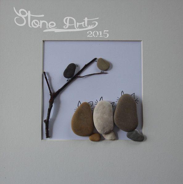 """Bilder - Bild """"Katzen auf der Lauer"""" - Geschenk - Deko - ein Designerstück von Stone_Art2015 bei DaWanda"""